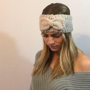 Ivory Bow Knit Sweater Headband